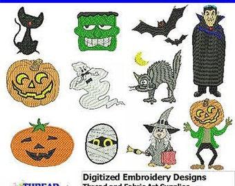 Embroidery Design CD - Halloween(1) - 11 Designs - 9 Formats - Threadart