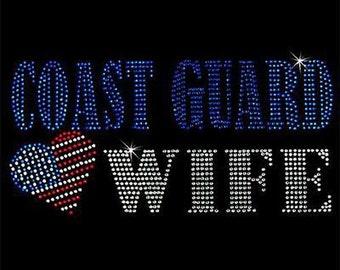 Rhinestone Transfer - Hot Fix Motif - Coast Guard Wife