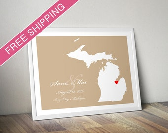 Personalized Michigan Wedding Gift : Custom Wedding Location and State Map Print - Wedding Guest Book Poster