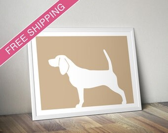 Beagle Print (version 1) -  Beagle Silhouette, beagle art, dog portrait, modern dog home decor
