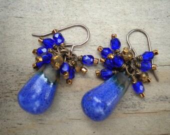 Brilliant Blue Drop Earrings, Ceramic Drop, Crystals, Czech Glass, Seed Beads, Vintaj Brass Handcrafted Earrings