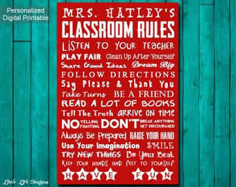 Classroom Decor. Teacher Gift. Teacher Appreciation. Classroom Rules Sign Teacher Rules. School Rules. Personalized Teacher Gift. Class Sign