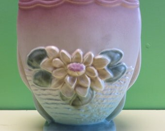 Hull Pottery Pink & Yellow Art Pottery Waterlily Vase L6 - 6 1/2""