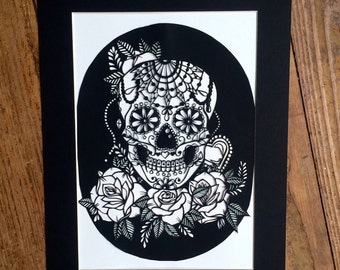 Sugar skull papercut template for instant dowload commercial use