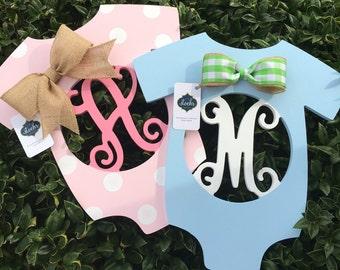 OH BABY Onesie Monogram || Hospital Door Hanger || Newborn Monogram || It's a Boy! || It's a Girl! ||