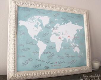 "Wedding Guest Book Alternative, Custom World Map, Wedding Guest Book Ideas, Wedding Gift Map, Custom Map, Guest Book Map, up to 30"" x 40"""