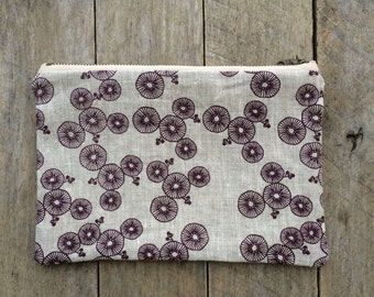 Hand Screen Printed Linen Zipper Pouch, A