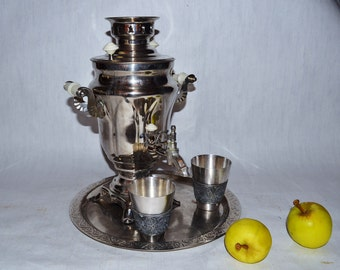 Large Soviet Russian Samovar with Cups -Working -  Electric Metal Tea Pot - Nickel Plated Brass - 1980s - from Russia / Soviet Union / USSR