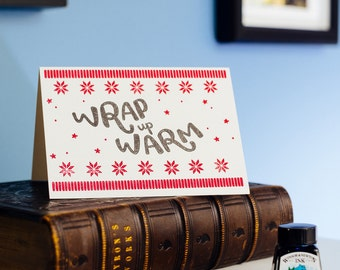 Wrap Up Warm Letterpress Christmas Card