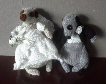 knitted bride and groom set