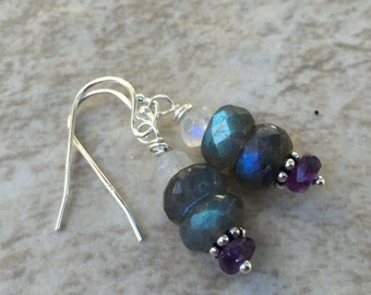 Labradorite Earrings with Amethyst, Moonstone and Sterling Silver, 1.25 inches long