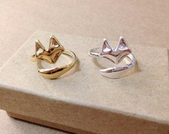 Fox ring. Animal ring, gold ring. Cool ring. unique gift. Simple ring.