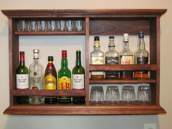 Mini bar red mahogany stain wall mounted liquor cabinet for Mini bar wall cabinet