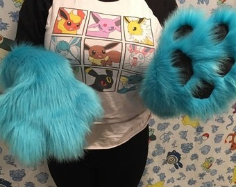 Elbow length fursuit paws
