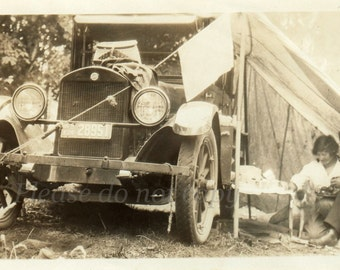Vintage Photo  ~ car tent ~ 1924 camping