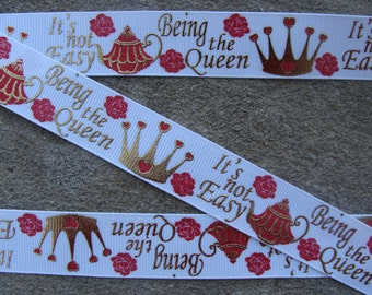 "3 yards ""Being the Queen It's not Easy"" Gold Prince Crown Grosgrain Printed Ribbon 7/8"" glittery hair bow ribbon"