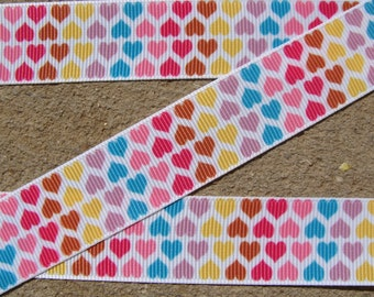 "3 yards color rainbow Hearts Grosgrain Ribbon - 7/8"", Valentines Day Hair Bow Ribbon"