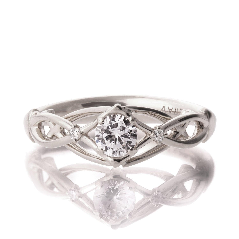Celtic Engagement Ring 18K White Gold and Diamond engagement - photo #23