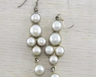 925 Sterling Silver Natural Freshwater Pearl Modern Dangle Earrings SE-04