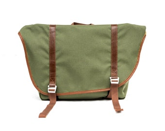 Olive Green 1000D Cordura nylon with Brown Cow leather messenger bag, Urban,bike messenger,cycling bag,waterproof,durable,Fordma,travel bag,