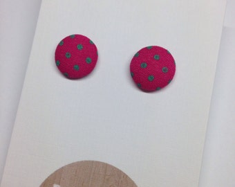 Hot Pink/Mint Retro Fabric Covered Polka Dot Stud Earrings Surgical Stainless Steel