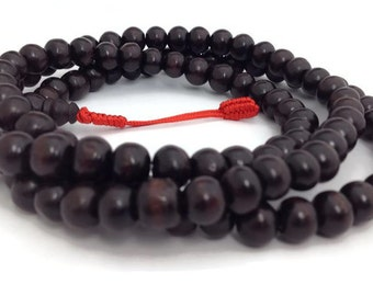 Tibetan Dark Rosewood 108 Beads Stretch Full Mala for Meditation and Yoga
