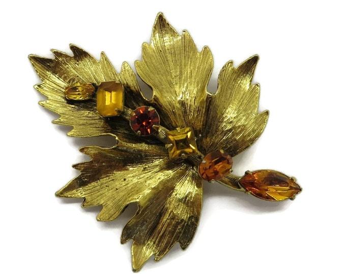 Vintage Graziano Brooch Gold Tone Amber Rhinestone Brooch, Vintage Designer Signed Estate Costume Jewelry Gift Idea