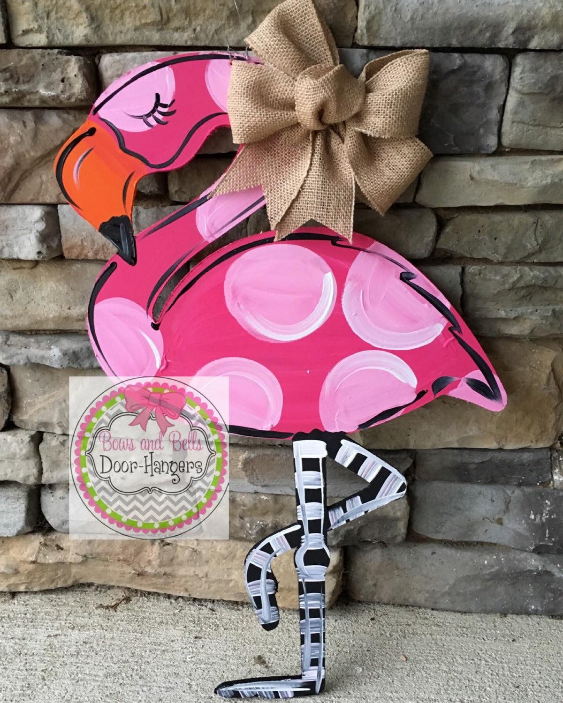 Summer Door Hanger Summer Wreath Summer Door Sign Flamingo