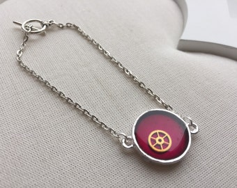 Steampunk Bracelet - Violet - Vintage Watch Gear Resin Jewellery