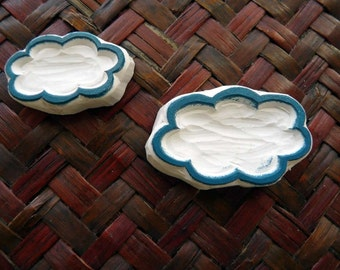Cloud Rubber Stamps, Two Sizes, Speech Bubble, Hand Carved, Weather Design