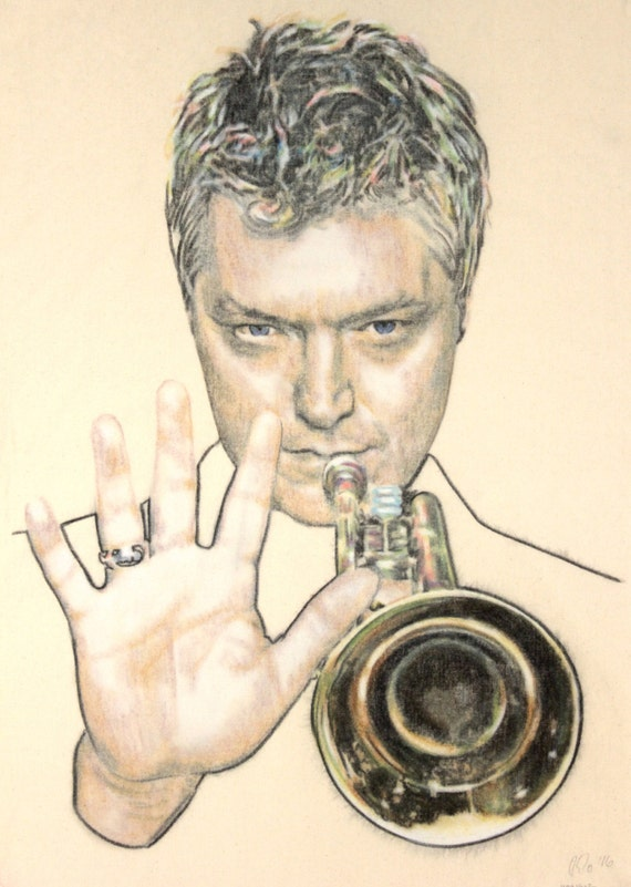 One-off, hand drawn portrait of American trumpeter Chris Botti, in charcoal and pastel