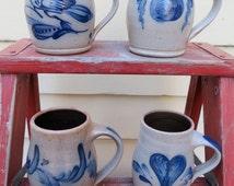 Rowe Pottery Works - Stoneware Cobalt Salt Glazed Mugs Cups - Four (4) Available - Heart Bird Apple Feather Scroll -