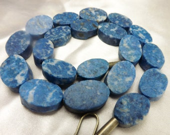 Rare 100% Natural Denim Chunky High quality hammer cut oval lapis Lazuli Natural Beads Strands Afghanistan LP7