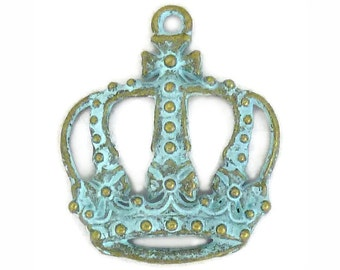 5 Gold Crown Charm Pendant 34x29mm by TIJC SP1176