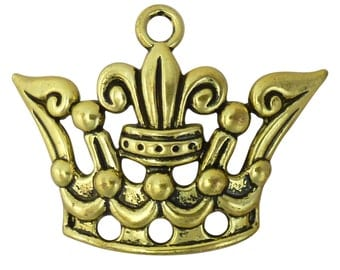3 Gold Crown Charm Pendant 36x51mm by TIJC SP1285