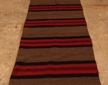 CLOSURE SALE 50%  Antique Anatolian Kilim Rug Runner Striped Brown Red Black Long  Area Carpet Wool Handwoven Folk Art 1920