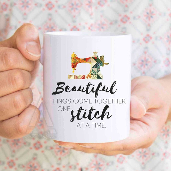 Beautiful things come together one stitch at a time mug - gift for sewers