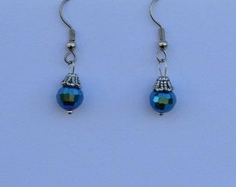 Simple Blue Bead Earrings