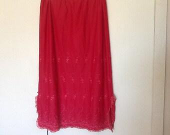 Vintage red slip. Woman's vintage slip. Red vintage slip