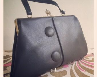 Vintage Black Leather Kelly Bag - 1960's