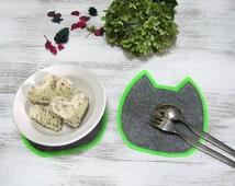 Green -Fuschia/Gray Cat Coasters/Felt Cat Two Coaster-Placemats/Breakfast Set/Felt Coasters /Double Felt/Table Decor/