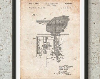 Missile Launcher Cold War Patent Poster, Army Decor, Military Art, Artillery, Firearms, Gun Enthusiast, PP0597