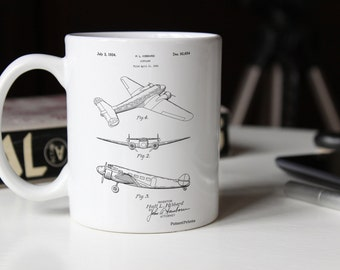 Electra Airplane Patent Mug, Airplane Mug, Aviation Decor, Plane Nursery, Air Force Gift, PP0945