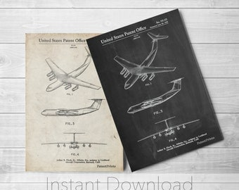 Airplane Printables, Lockheed C-141 Starlifter Patent Poster, Airplane Decor, USAF, Aviation Wall Art, PP0944