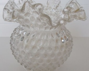 Vintage Fenton Glass Hobnail Ruffled Edge Vase