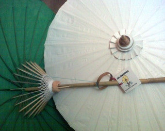 "Waterproof Cotton Canvas Parasols 28"" canopy & bamboo pole  NEW COLORS!"