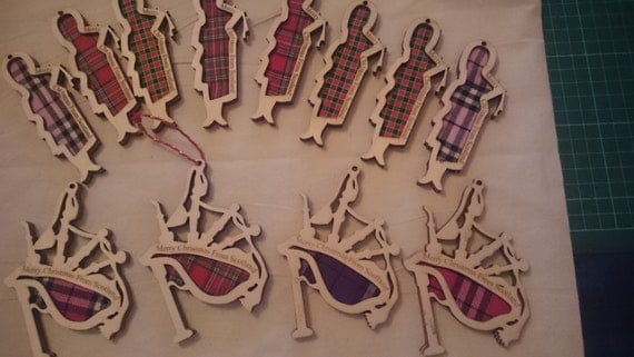 Scottish wooden tartan christmas piper or bagpipe decoration