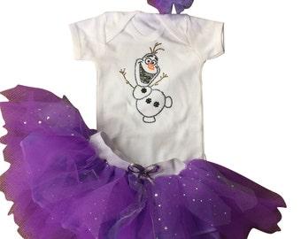 Purple Sparkle Baby Girl Toddler Olaf Snowman Frozen Tutu Costume Disney Christmas Holiday Fancy Dress