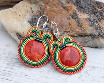 Small Coral Soutache Earrings-Orange Red Earrings-Gemstone Crystal Earrings-Coral Earrings-Coral Jewelry-Boho Ethnic Earrings-Beaded Earring