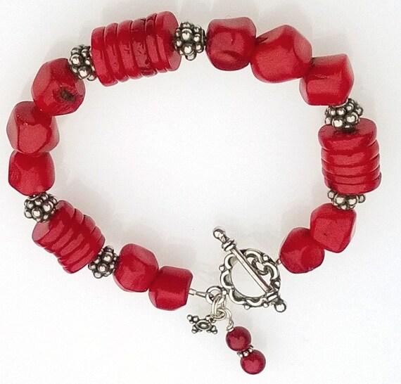 Red Coral Bracelet, Red Bracelet, Coral Bracelet